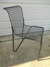Vintage Knoll Bertoia Era Black Wire Side / Desk / Patio Chair