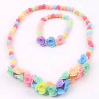 EG_ KIDS GIRLS LOVELY BEADS FLOWERS NECKLACE BRACELET 2 IN 1 JEWELRY SET FADDISH
