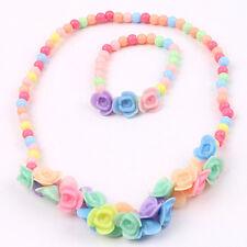 BAMBINI ADORABILE perline fiori collana braccialetto 2 in 1 Set di gioielli