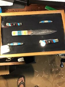 Native American Knife Set Turquoise color customized bowie