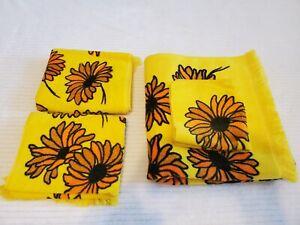 Towel Set Springmaid Vintage Floral Sunflower Retro Mid Century Yellow