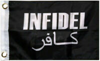 US Military Infidel Black 12x18 Boat/ bike Flag (Double Sided 2ply Polyester)