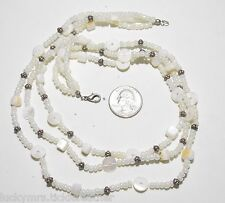 White Necklace, 3-Strand Glass & Mother of Pearl MOP - Round, Disk, Cube Beads