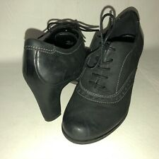 ECCO Women's 37 US 6-6.5 Black Nubuck Leather Lace Up Heeled Oxford Shoes