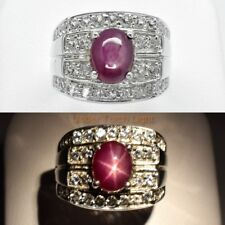 2.85 Carat Natural Red 6 Ray Star-Ruby Man Ring With Topaz in 925 Silver