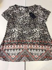 M&S COLLECTION Animal Print Round Neck Short Sleeve T-Shirt Size 20
