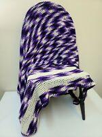 """Handmade Afghan Nursery Large Baby Blanket/Throw Bright Purple 64""""x58"""""""