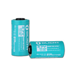 Two Olight 550mAh IMR16340 Rechargeable Batteries for Olight S1R II Flashlights