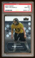 PSA 10 TROY POLAMALU 2003 FINEST ROOKIE RC CARD #61  STEELERS LEGEND FUTURE HOF