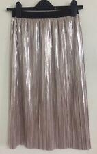 Ex Quiz Clothing Pink Metallic Foil Pleated Plisse Crinkle Mid Skirt Size 8-16