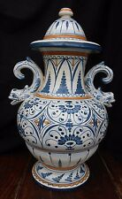 Continental Faience Vase Tin Glaze Majolica Hand Painted Marked BP Height 37.5cm