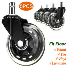 5pcs 3 Office Chair Casters Swivel Wheels Replacement Heavy Duty For Wood Floor