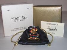 ESTEE LAUDER SOLID PERFUME COMPACT 2004 HARROD'S CHRISTMAS TEDDY BEAR NEW
