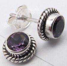 925 Pure Silver PURPLE AMETHYST LATEST STYLE Studs Earrings 0.8 CM LIGHTWEIGHT