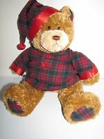Gund Porto The Bear Wearing His Red Flannel Christmas PJ's & Night Cap 15in Tall