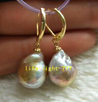 natural AAA 13X17mm South Sea Multi-color Baroque Pearl Earrings 14K YELLOW GOLD