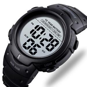Ultralong Quartz Power Digital Watches Date Alarm LED Men Waterproof Sport Watch