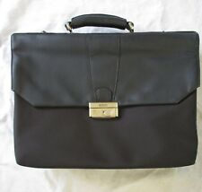 BOSCA modern black leather ballistic nylon padded laptop expanding briefcase 20""