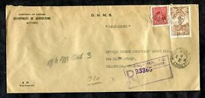 p306 - OHMS Perfins on 1946 Official Registered Cover. Department of Agriculture