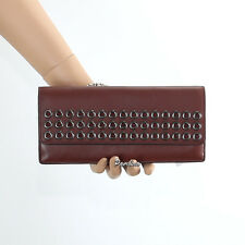 NWT Coach Bleecker Grommet Studs Soft Leather Wallet 51967 Brick Brown New RARE