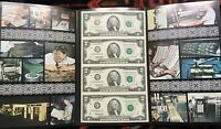1995 $2 ATLANTA UNCUT SHEET OF 4 BANKNOTES, NEW & UNCIRCULATED, RARE F/D BLOCK