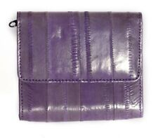Lee Sands Eelskin Amethyst Coin Purse with ID Window, Key Ring and Mirror