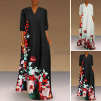 Womens Summer Floral Long Dress Ladies Beach Holiday Casual Maxi Dress Size 8-26