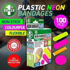 100 Neon Bandages Plastic Assorted Sizes 100pc Band AIDS Bandage First Aid Latex