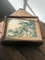 Vintage Wood Dresser Jewelry Trinket Box with Victorian Scene &  Mirror