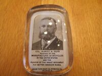 Antique Col Albert A Pope (Columbia) Bicycles Advertising Paperweight 1892