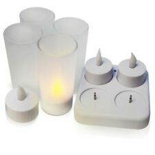 4 x Rechargeable Flickering LED Battery Tea lights Flameless Tea Lights Candles