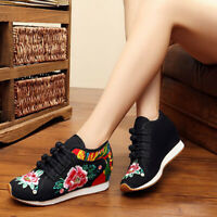 Women Wedge Kapok Embroidered Shoes Chinese Style Casual Canvas Dance Moccasins