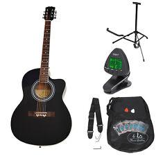 4/4 Akustik Gitarre Westerngitarre Schwarz mit Tasche, Stimmgerät und Zubehör