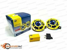 Brand New Hella 12v Sharptone Dual Car Yellow Panther Horn Set For Benz, BMW
