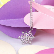 Charm Christmas Gift Silver Frozen Snowflake Crystal Necklace Pendant Chain