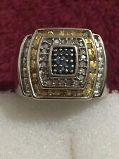 Big White Gold 10 Kt Tri Color Diamond Ring
