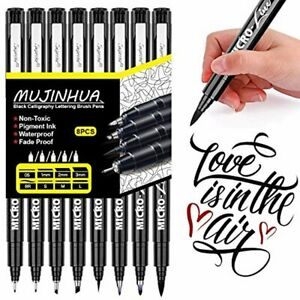 Hand Lettering Pens Calligraphy Brush Pen 8 Size Black Ink Permanent Markers