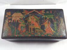Russian antique paper mashe lacquer tobacco box 1939.
