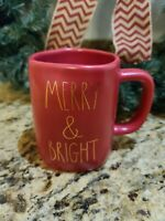 """Rae Dunn Red """"Merry and Bright"""" coffee mug w/ gold lettering Christmas New 2020"""