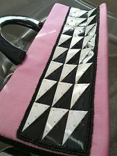 purse silk fabric pink black and white bag domino dominos gay style funky wonky