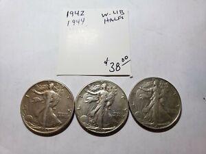1942, 1944, 1945 Walking Liberty Half Dollars  XF - USC-0210