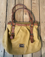 Valentina Women's Leather Handbag/purse With Straps In Yellow/brown E2