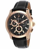 Bulova Accutron 64B111 Men's Stratford Chronograph Black & Rose Gold Watch NEW!