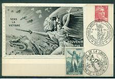 WW1 Silk Vers La Victorie tank plane postcard Anniversary dated 1946