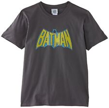 DC Comics Boys Batman Retro Logo Grey T Shirt Age 9-11 Years New With Tags