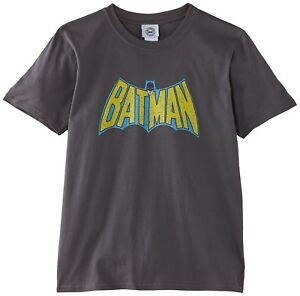 DC Comics Boys Batman Retro Logo Grey T Shirt Age 9-11 Years New With Tags