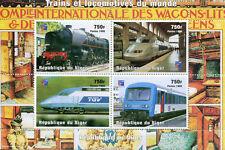 Niger 1998 MNH Trains & Locomotives of World TGV 4v M/S Railways Rail Stamps