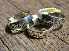 Sterling silver turquoise chip inlay band bear paw designs size 6