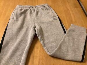 Adidas Boys Jogger Sweatpants, Size M 10/12, Gray with Black Stripes