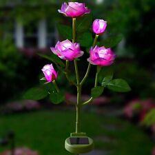 Solar Artificial Rose Flower Stake Lights Garden Yard Lawn Decor Patio Pathway